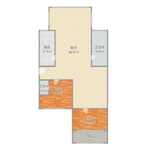 颛溪五村2室1厅2卫1厨159.00㎡户型图