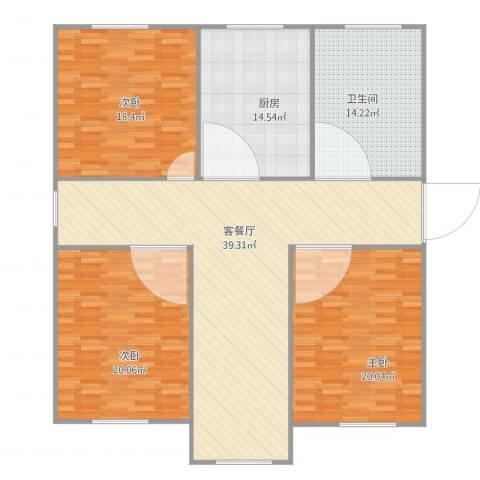 宝山三村3室2厅1卫1厨168.00㎡户型图