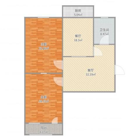 花园路单位宿舍2室2厅1卫1厨164.00㎡户型图
