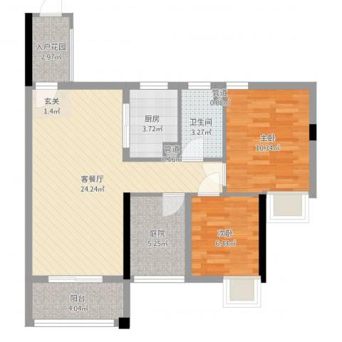 石排国际公馆2室2厅1卫1厨76.00㎡户型图