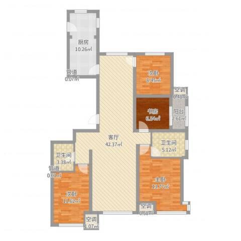 永定河孔雀城英国宫4室1厅2卫1厨133.00㎡户型图