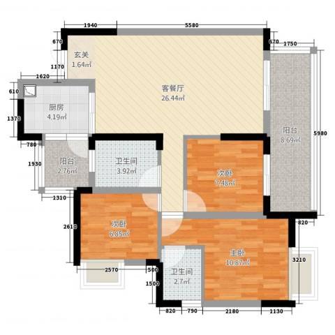 恒安世纪花城3室2厅2卫1厨108.00㎡户型图