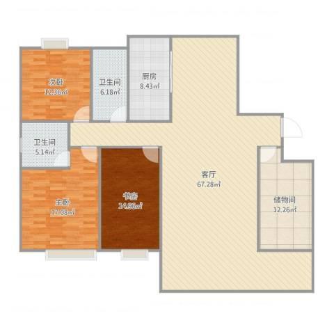 和美星城3室1厅2卫1厨180.00㎡户型图