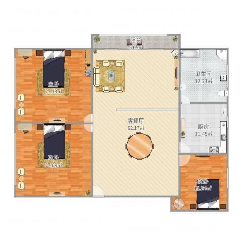 金汇华光城3室2厅1卫1厨209.00㎡户型图