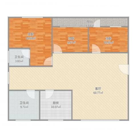 唐园路11号3室1厅2卫1厨174.00㎡户型图