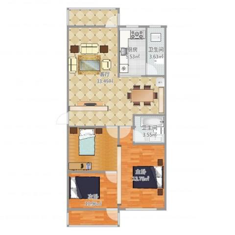 金湖苑2室1厅2卫1厨95.00㎡户型图