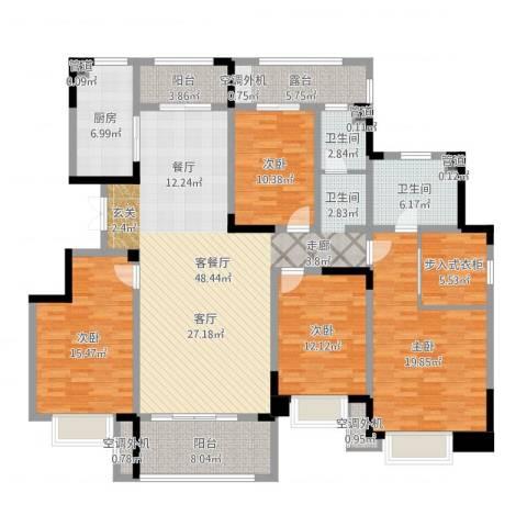 济南鲁能领秀城漫山香墅4室2厅2卫1厨184.00㎡户型图