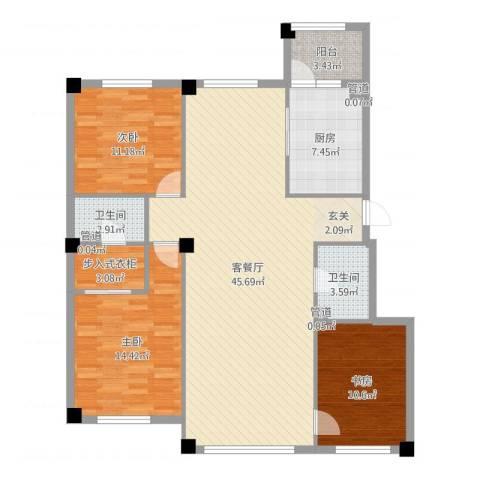 米兰D.C3室2厅2卫1厨128.00㎡户型图