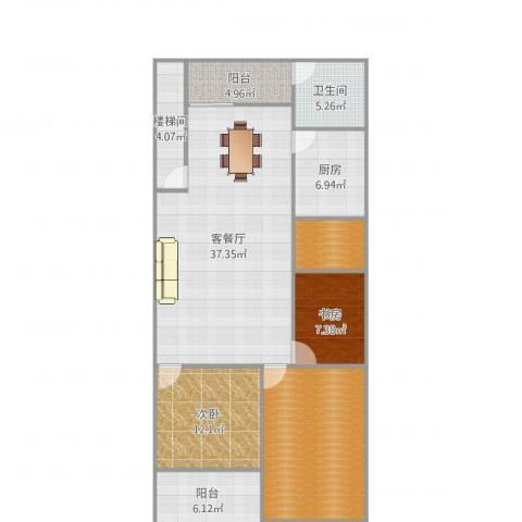 滨江花园2室2厅1卫1厨133.00㎡户型图
