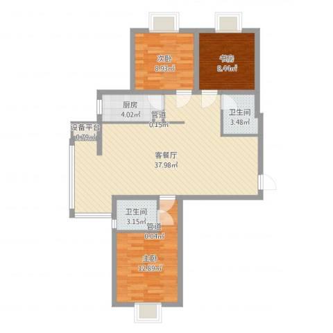 龙溪城3室2厅2卫1厨100.00㎡户型图