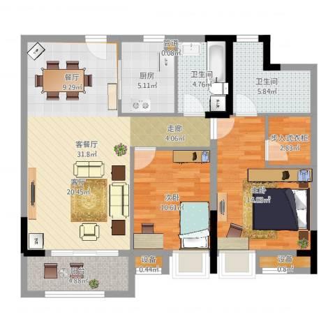 金地华公馆2室2厅2卫1厨101.00㎡户型图