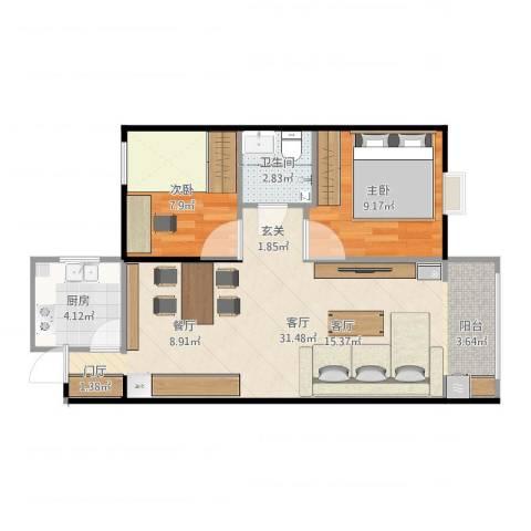 龙溪香岸2室1厅1卫1厨69.00㎡户型图