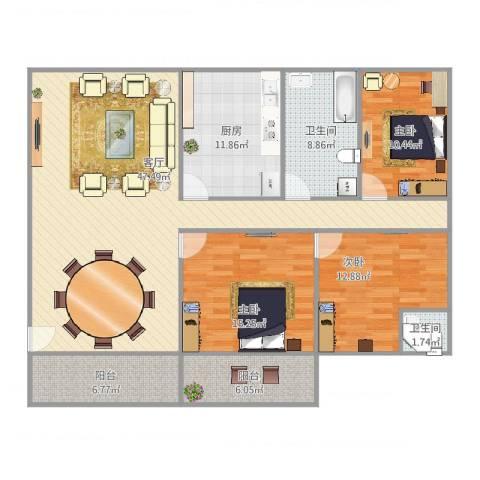 好日子大家园D区3室1厅2卫1厨162.00㎡户型图