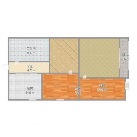 世家星苑2室2厅1卫1厨102.00㎡户型图