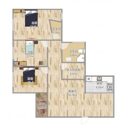 元洪花园3室2厅2卫1厨125.00㎡户型图