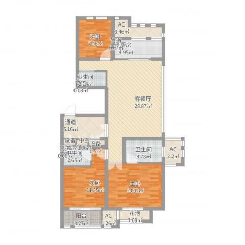 华润置地橡树湾3室2厅3卫1厨140.00㎡户型图