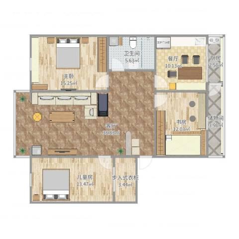 溪林花园3室2厅1卫1厨129.00㎡户型图