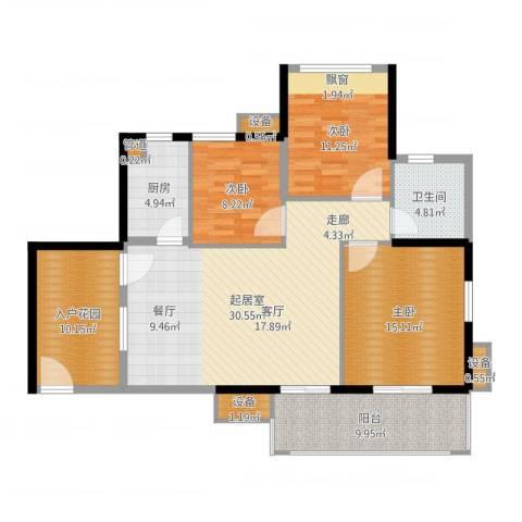 万科云山3室1厅3卫3厨122.00㎡户型图
