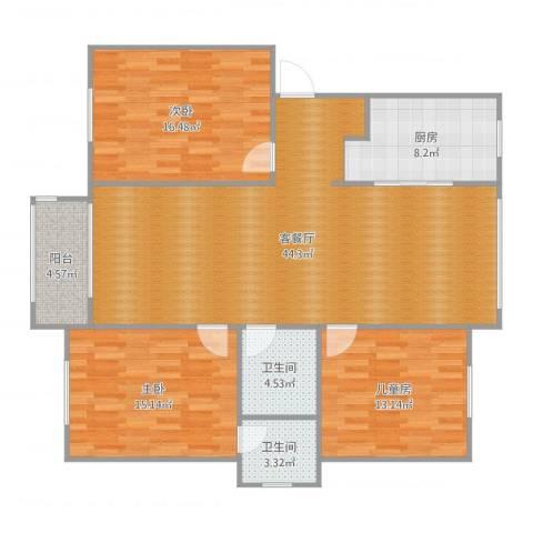 奉铭佳苑3室2厅2卫1厨137.00㎡户型图