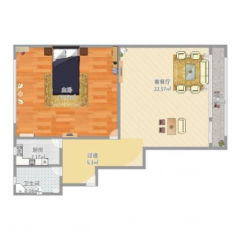 德州五村1室2厅1卫1厨64.00㎡户型图
