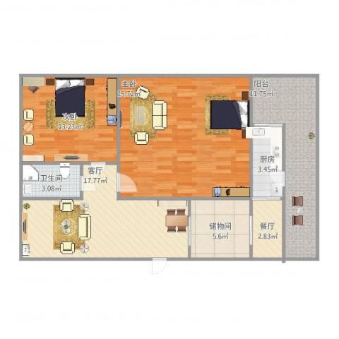 金澜新村2室2厅1卫1厨112.00㎡户型图