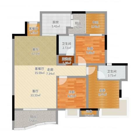 碧水云天3室2厅2卫1厨108.00㎡户型图