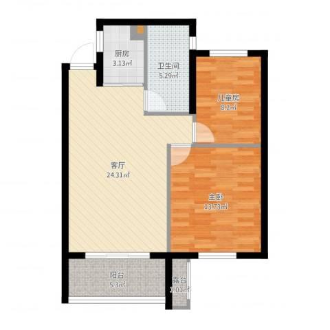 金盛田锦上2室1厅1卫1厨76.00㎡户型图