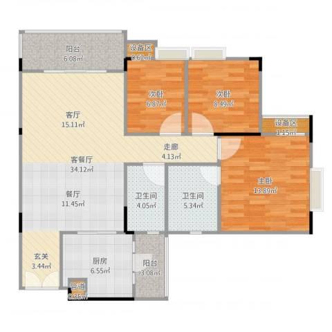 喜盈雅境3室2厅4卫2厨113.00㎡户型图