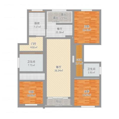 金城绿苑3室2厅2卫1厨170.00㎡户型图