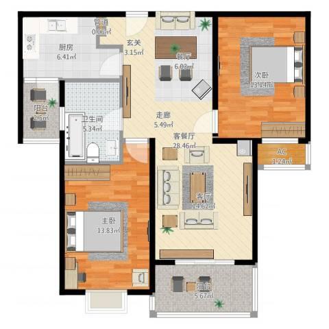 达安春之声花园2室2厅1卫1厨96.00㎡户型图