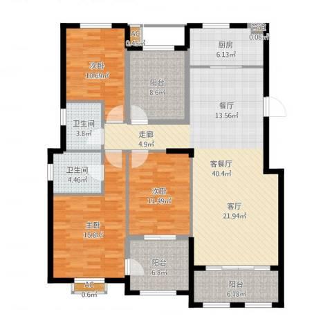 大学里三期3室2厅2卫1厨144.00㎡户型图