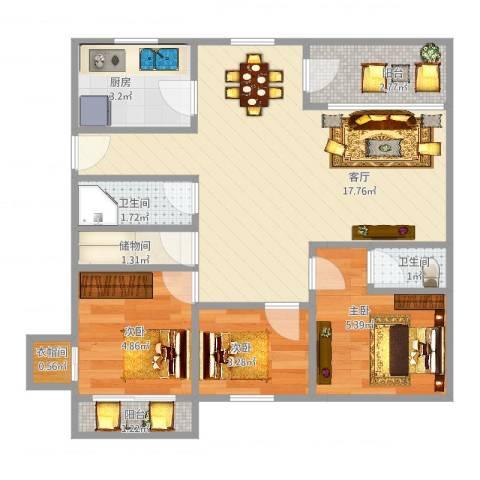 银河湾3室1厅2卫1厨61.00㎡户型图
