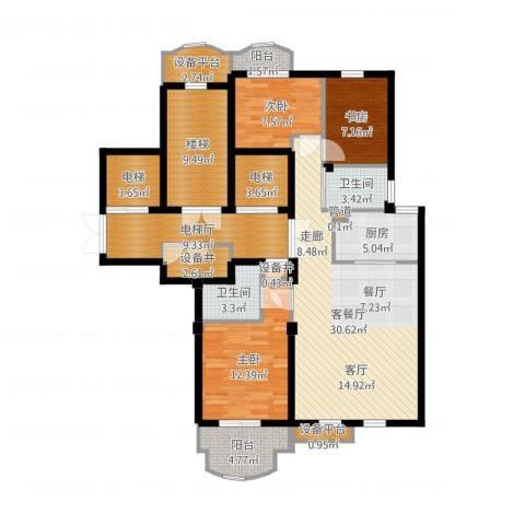 维科龙湾府3室2厅2卫1厨136.00㎡户型图