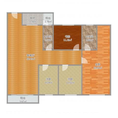 碧海名苑4室2厅2卫1厨158.00㎡户型图
