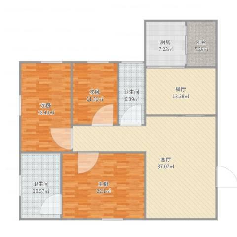 岭南坊4103室2厅2卫1厨175.00㎡户型图