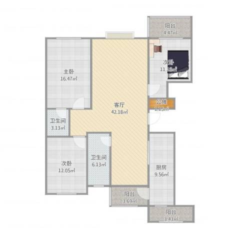 恒泰丽景3室1厅2卫1厨142.00㎡户型图