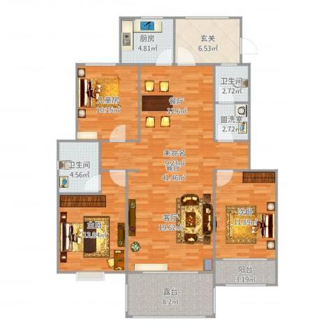 卓达明郡3室3厅2卫1厨146.00㎡户型图