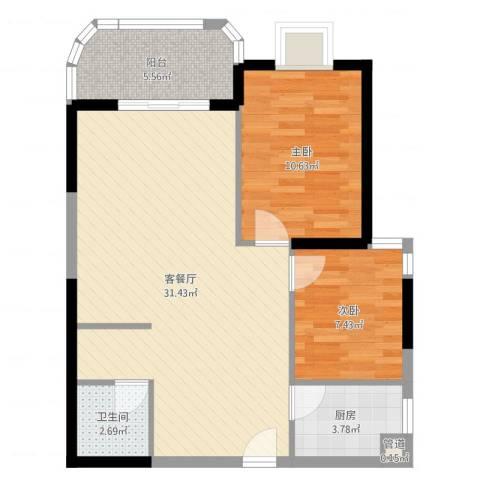 安溪龙湖8882室2厅1卫1厨77.00㎡户型图