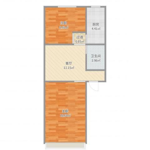 学院南路60号院5号楼两居室01户型2室1厅1卫1厨56.00㎡户型图