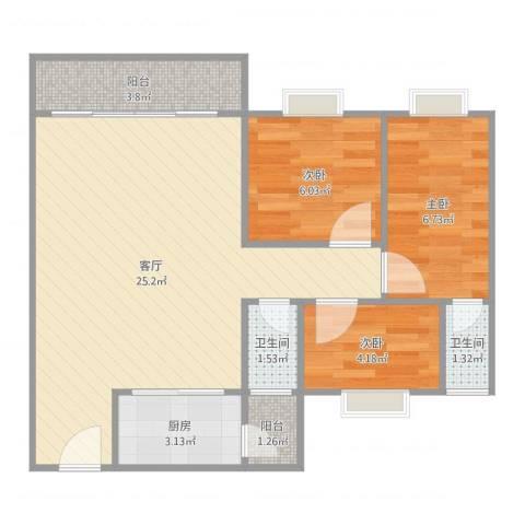 大信芊翠家园3室1厅2卫1厨66.00㎡户型图