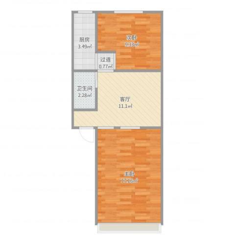 学院南路60号院5号楼02户型2室1厅1卫1厨55.00㎡户型图