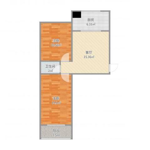 旭城花园2室1厅1卫1厨65.00㎡户型图