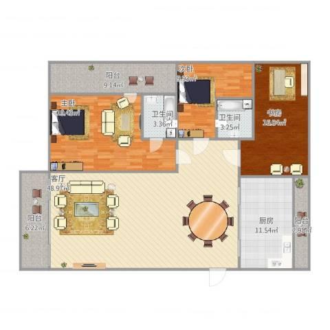 丽景花园3室1厅2卫1厨175.00㎡户型图