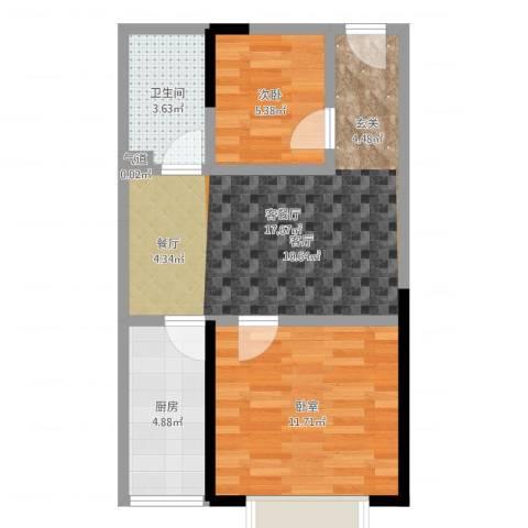 金江大厦1室2厅1卫1厨54.00㎡户型图