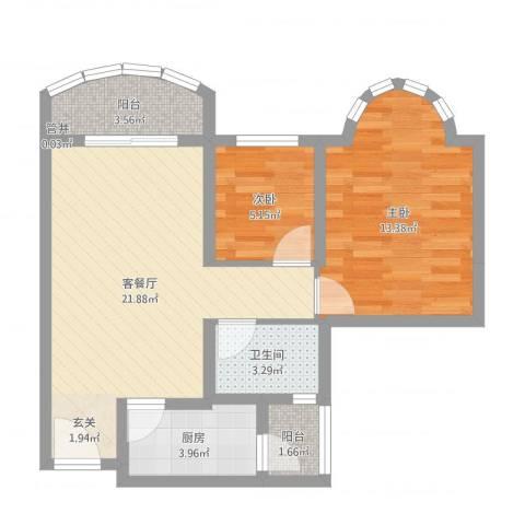 祈福新村倚湖湾2室2厅1卫1厨66.00㎡户型图