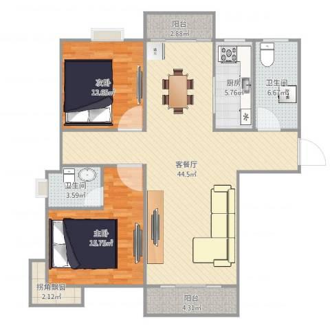 三村汇秀苑2室2厅2卫1厨132.00㎡户型图