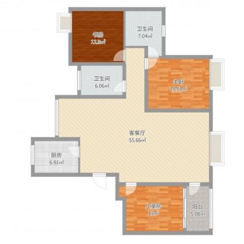 湖东景园3室2厅2卫1厨152.00㎡户型图