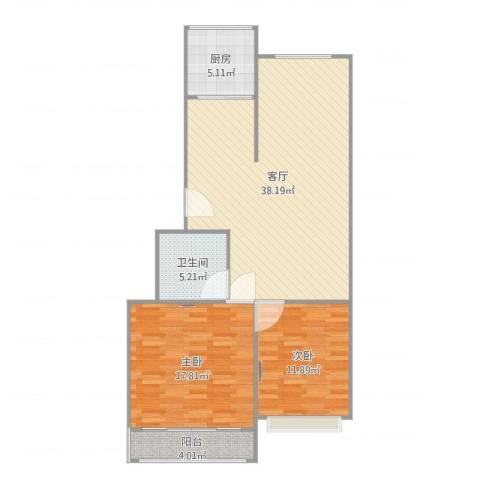 蟠桃花园2室1厅1卫1厨103.00㎡户型图