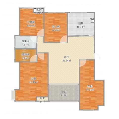 通州区南湖学府4室1厅1卫1厨158.00㎡户型图