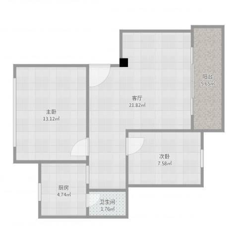 丽港城2室1厅1卫1厨68.00㎡户型图